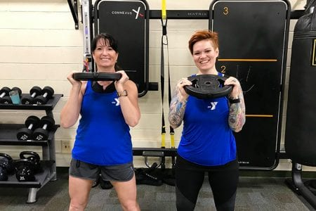 Jenn and Marla with weights