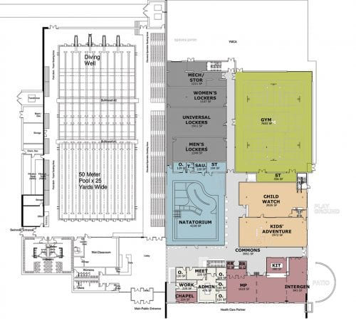 Westfield YMCA blueprints first floor