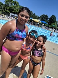 Hinton Girls enjoying summer swimming at the Y