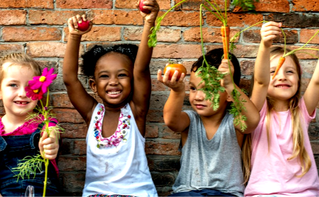 4 children garden party | YMCA of Greater Indianapolis
