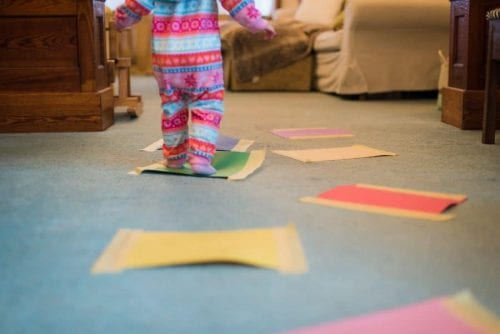 lava floors at home - kid stepping on imaginary lava