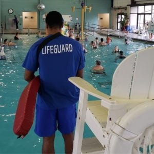 Lifeguard on duty at the Y