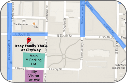 Indy YMCA downtown parking map