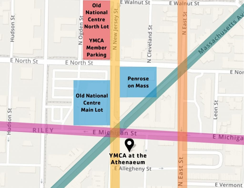 Indy YMCA map of nearby parking options