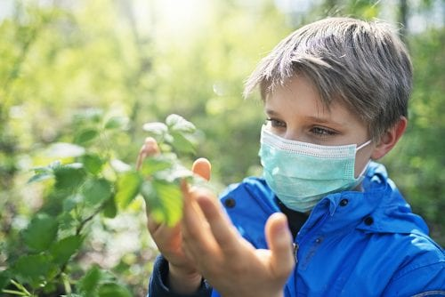 Kids Need Camp - boy looking at plant