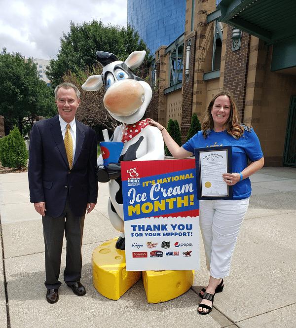 Indianapolis Mayor Joe Hogsett and ADAI CEO Jenni Browning - Community Ice Cream Month