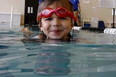 rose swimming at Y - swim lesson