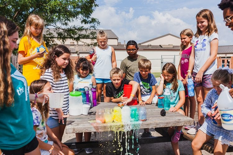 Kids doing color experiments